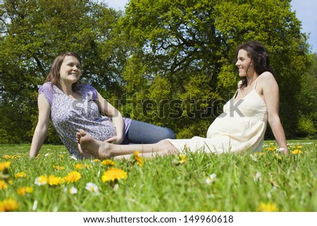 Two young pregnant women sitting on grass against trees - stock photo