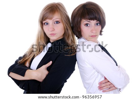 two young serious looking women