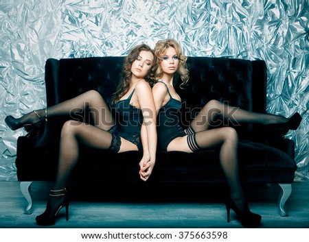 two young sexy woman in lingerie - stock photo