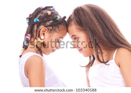 Two young sisters - stock photo
