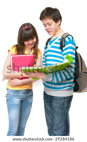 Two young students a over white background - stock photo
