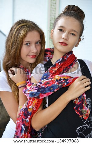 Two young teenage girls