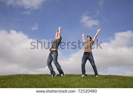 two young teenager enjoying the fresh air in the park