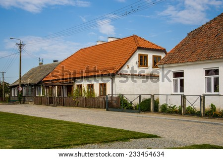TYKOCIN, POLAND - AUGUST 15, 2014: Typical Polish houses in Tykocin, Poland