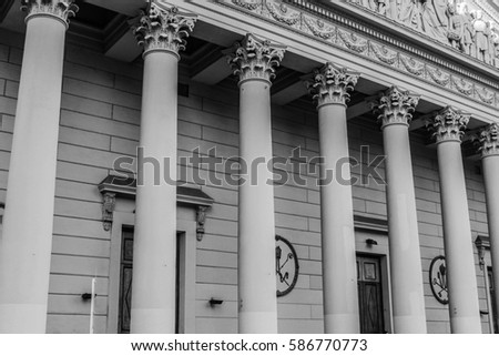 Tympanum Column Detail  in Black and White