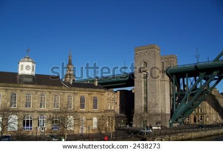 Tyne Bridge and Quayside building of Newcastle England - stock photo
