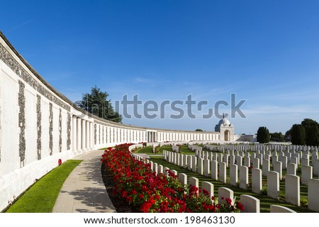 Tyne Cot World War One Cemetery, the largest British War cemetery in the world.  near Ypres, Flanders, Zonnebeke, Belgium - stock photo