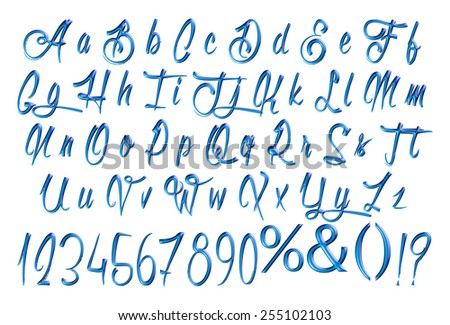 Type Letters And Numbers 3D Design Elements Dark Blue