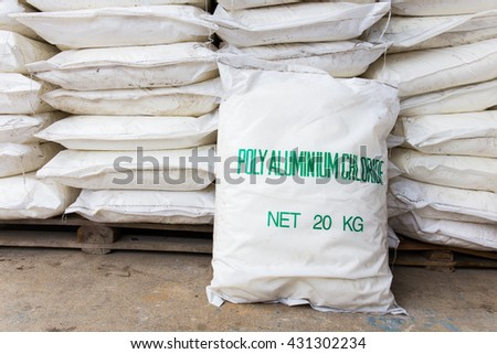 Type of chemical with chemical sacks in store - stock photo