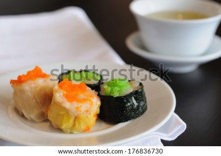 Type of Chinese Steamed Dumpling with tea. - stock photo
