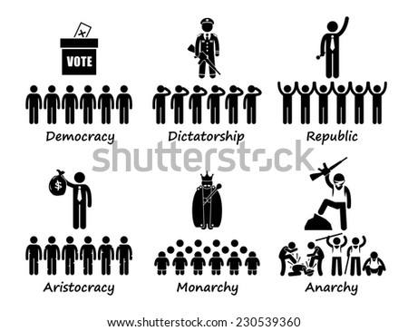 Type of Government - Democracy Dictatorship Republic Aristocracy Monarchy Anarchy Stick Figure Pictogram Icons - stock photo