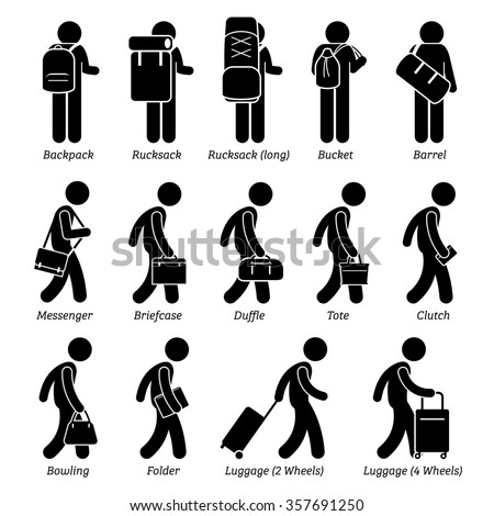 Type of Man Male Bags and Luggage Stick Figure Pictogram Icons - stock photo