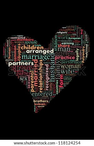 Type of marriages in word collage - stock photo