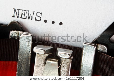 type spelling the word news on a vintage typewriter, great concept for blogs, journalism, news, newsletters, press releases, authors and the mass media - stock photo