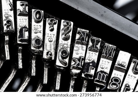 types and character of an old typewriter. symbolic photo for communication in former times - stock photo