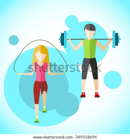 Types of activity people icon flat design. Active sport, fitness and aerobics, exercise with weight, rope jump, training and gymnastic, health activity, barbell and strength. Raster version - stock photo