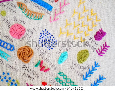 types of embroidery - stock photo