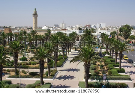 Types of Monastir in Tunisia, Africa in summer day - stock photo