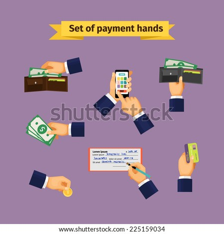 Types of payments. Hands with cash money, credit cards, coins and mobile payments - stock photo