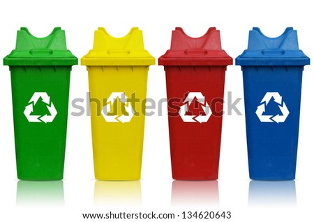 Types of recycling bins with bin green, yellow, red and blue.