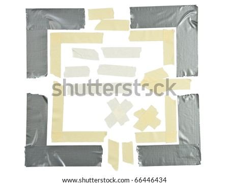 types of tape corners and pieces isolated on white - stock photo
