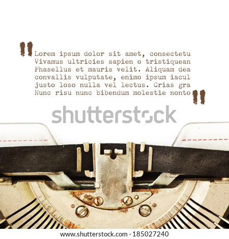 Typewriter card with copyspace - stock photo