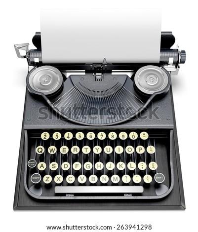 Typewriter. 3D. Antique Type Writer - stock photo