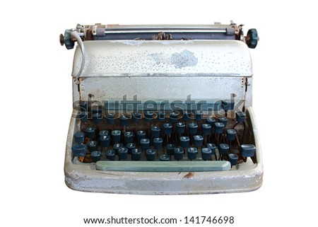 Typewriter isolated on white background with clipping path - stock photo