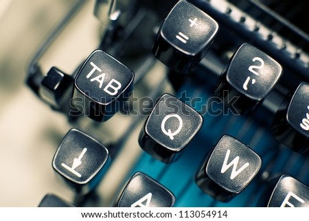 Typewriter keys close up, selective focus - stock photo