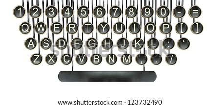 Typewriter keys, vintage keyboard isolated on white - stock photo