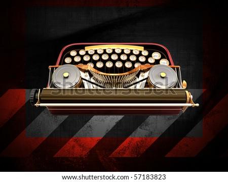 typewriter on a grunge background - stock photo