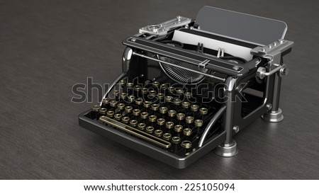 Typewriter over a wooden table. High resolution 3d render