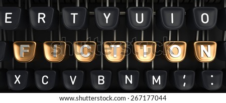Typewriter with FICTION buttons - stock photo