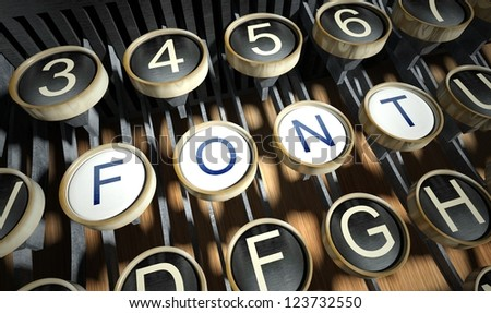 Typewriter with Font buttons, vintage style - stock photo