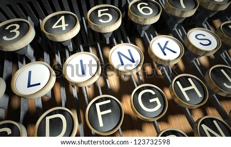 Typewriter with Links buttons, vintage style - stock photo