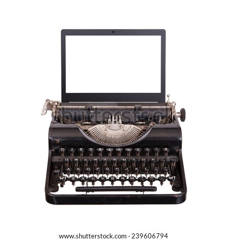 Typewriter with modern laptop screen, isolated on white - stock photo