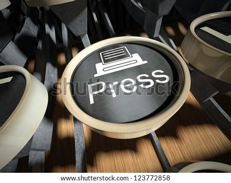 Typewriter with Press  button, vintage style - stock photo