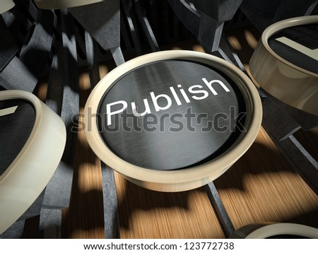 Typewriter with Publish button, vintage style - stock photo