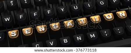 Typewriter with SENSATION gold buttons - stock photo