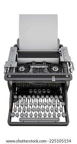 Typewriter with Sheet of Paper isolated on white background. High resolution 3d
