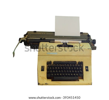 Typewriter with sheet of paper. Isolated on white background with clipping path - stock photo