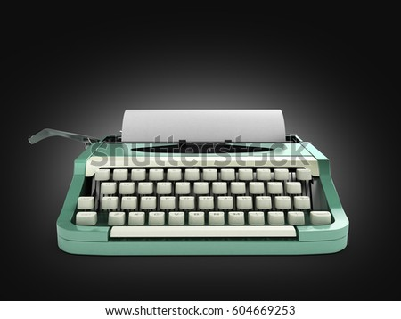 Typewriter with sheet of paper on black gradient background 3d