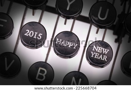 Typewriter with special buttons, 2015 - happy - new year - stock photo
