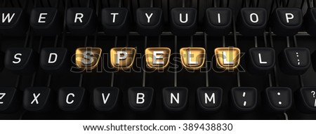 Typewriter with SPELL gold buttons - stock photo