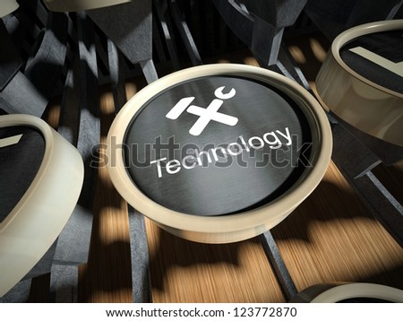Typewriter with Technology button, vintage style - stock photo