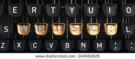 Typewriter with WRITER buttons - stock photo