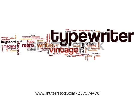 Typewriter word cloud concept - stock photo