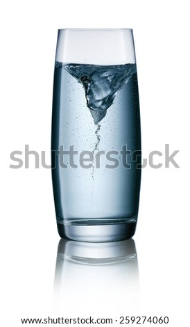 Typhoon in a glass of water with clipping path - stock photo