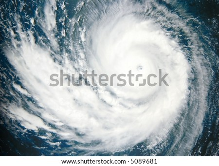 Typhoon over Pacific Ocean - satellite photo - stock photo