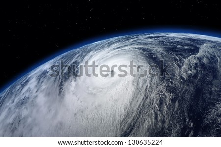 typhoon, satellite view. Elements of this image furnished by NASA - stock photo